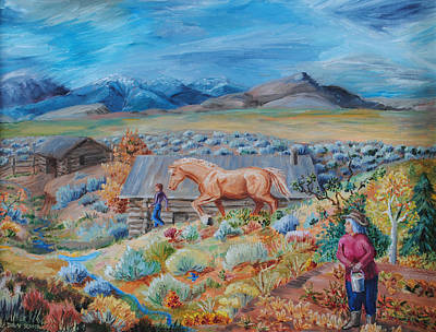 Painting - Wyoming Ranch Scene by Dawn Senior-Trask