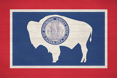 Yellowstone Mixed Media - Wyoming Rustic Flag On Wood by Dan Sproul