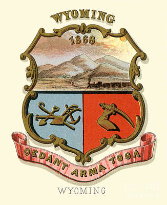 Wyoming Painting - Wyoming State Arms Of The Union by Celestial Images