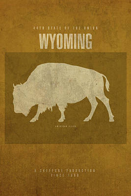 Bison Mixed Media - Wyoming State Facts Minimalist Movie Poster Art by Design Turnpike