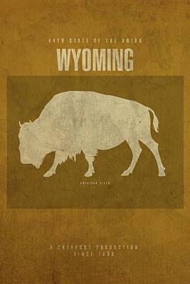 Wyoming State Facts Minimalist Movie Poster Art Art Print