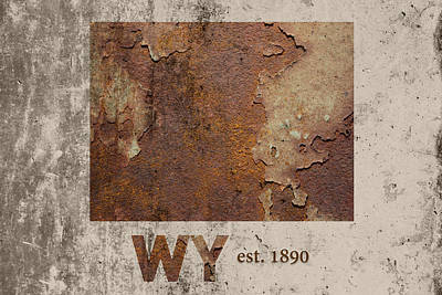 Wyoming Mixed Media - Wyoming State Map Industrial Rusted Metal On Cement Wall With Founding Date Series 037 by Design Turnpike