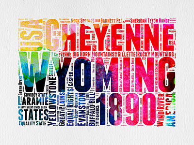 United States Mixed Media - Wyoming Watercolor Word Cloud Map by Naxart Studio