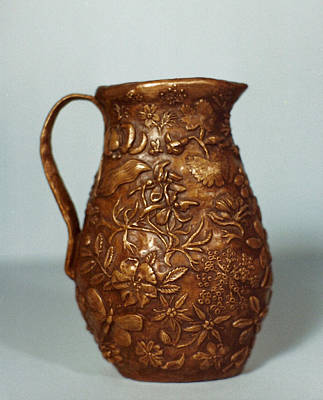 Sculpture - Wyoming Wildflowers Bronze Pitcher - Another View by Dawn Senior-Trask
