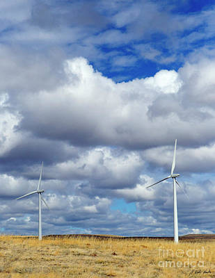 Photograph - Wyoming Wind Farm-signed-#3239 by J L Woody Wooden
