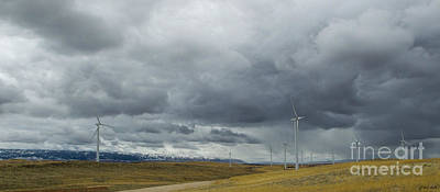 Photograph - Wyoming Wind Farm-signed-#3308 by J L Woody Wooden