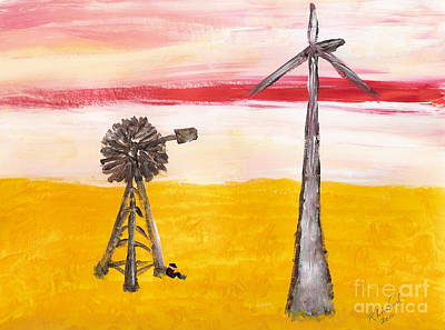 Painting - Wyoming Windmills 1 by Richard W Linford