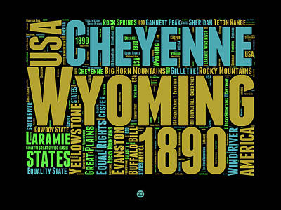 Yellowstone Digital Art - Wyoming Word Cloud Map 1 by Naxart Studio