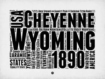 Wyoming Word Cloud Map 2 Art Print by Naxart Studio