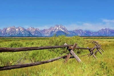 Photograph - Wyoming's Grand Tetons Watercolor by Kay Brewer