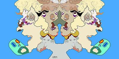 Surreal Digital Art - Wysiwyg1 - Back 2 Back by Gavin McCabe