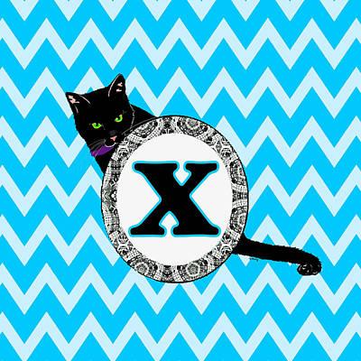 Cat Digital Art - X Cat Chevron Monogram by Paintings by Gretzky