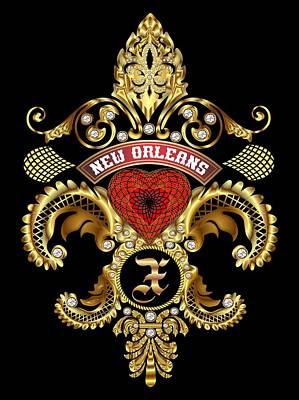 Doubloon Digital Art - X-fleur-de-lis New Orleans Transparent Back Pick Color by Bill Campitelle