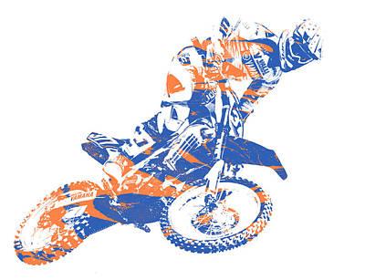 Austin Mixed Media - X Games Motocross Pixel Art 1 by Joe Hamilton