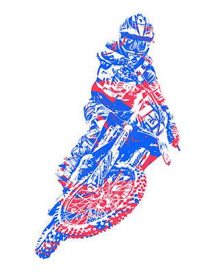Austin Mixed Media - X Games Motocross Pixel Art 5 by Joe Hamilton