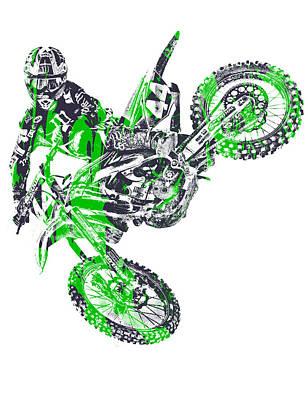 Austin Mixed Media - X Games Motocross Pixel Art 7 by Joe Hamilton