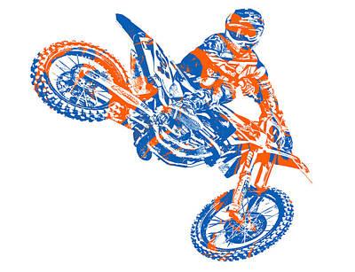 Austin Mixed Media - X Games Motocross Pixel Art 9 by Joe Hamilton
