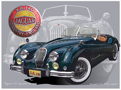 X K 140 Jaguar Art Print by Kenneth De Tore