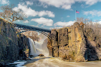 Surrealism Royalty-Free and Rights-Managed Images - Great Falls with Flag by Surreal Jersey Shore