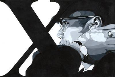 Malcolm X Art Drawing - X by Lamark Crosby