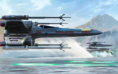 X-wing Full Throttle  Art Print by Kurt Miller