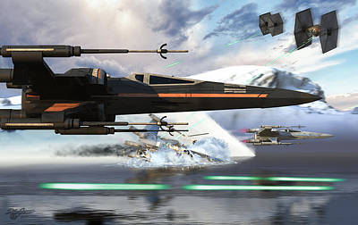 X-wing Full Throttle V2 Art Print by Kurt Miller