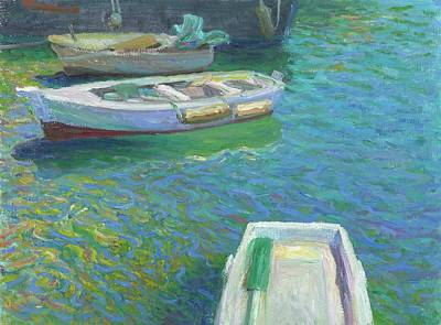Painting - Xabia Harbour With Fishing Boats by Ben Rikken