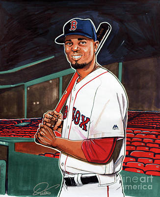 Mlb Boston Red Sox Drawing - Xander Bogaerts by Dave Olsen