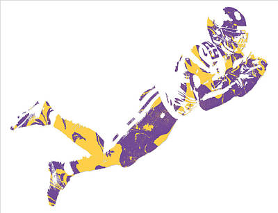 Rhodes Mixed Media - Xavier Rhodes Minnesota Vikings Pixel Art 1 by Joe Hamilton