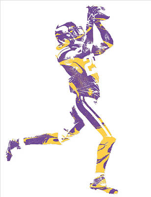 Rhodes Mixed Media - Xavier Rhodes Minnesota Vikings Pixel Art 3 by Joe Hamilton