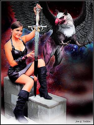Painting - Xena And The Griffon by Jon Volden
