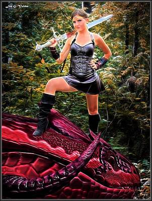 Painting - Xena Meets Dragon by Jon Volden