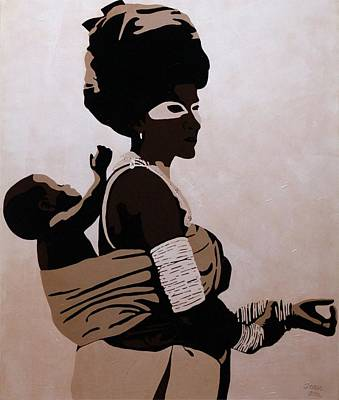 African Art Painting - Xhosa Mother And Child by Irene Jonker