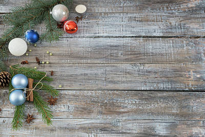 Photograph - Xmas Or New Year Background Holiday Plain Composition Made Of Ch by Julian Popov