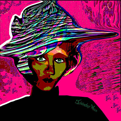 Digital Art - 2421 - Lady On A Pink Wall 2017 by Irmgard Schoendorf Welch