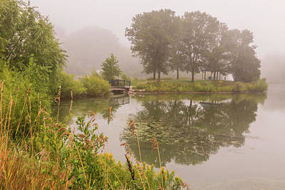 Photograph - Misty Pond Bridge Reflection #5 by Patti Deters