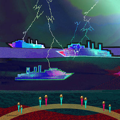 Digital Art -  2412 - Ships In   Thunderstorm 2017 by Irmgard Schoendorf Welch