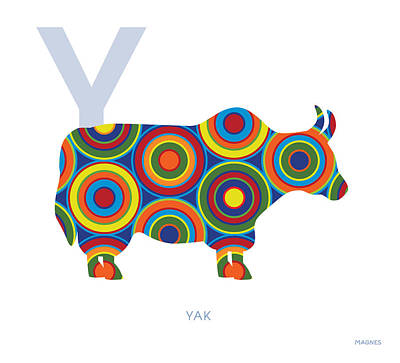 Yak Digital Art - Y Is For Yak by Ron Magnes