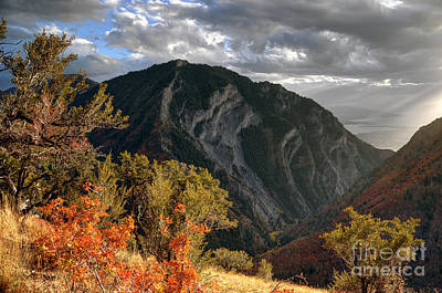 Y Mountain Above Provo Utah At Sunset Art Print by Gary Whitton