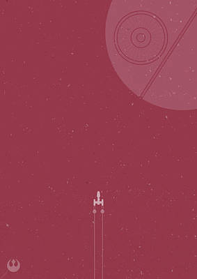 Y-wing Bomber Meets Death Star Art Print by Samuel Whitton