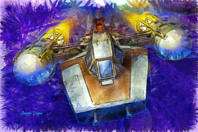 Shooting Digital Art - Y-wing Fighter  - Pencil Style -  - Da by Leonardo Digenio