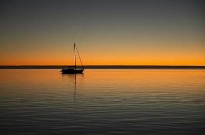 Yacht At Sunset Art Print by Gary Wright