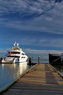 Cruising The Coast Wall Art - Photograph - Yacht At The Pier by Alex Lyubar