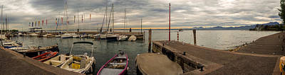 Yacht Harbour On The Lake Garda In Italy At Sunset Original by Yevhenii Volchenkov