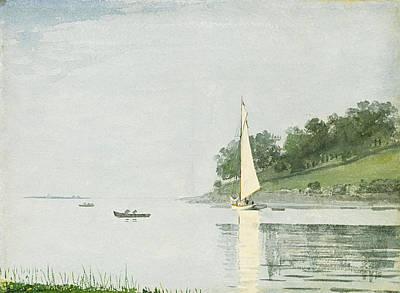 Winslow Homer Drawing - Yacht In A Cove. Gloucester by Winslow Homer