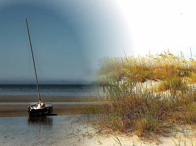 Mixed Media - Yacht In The Sand Dunes Montage by Clive Littin