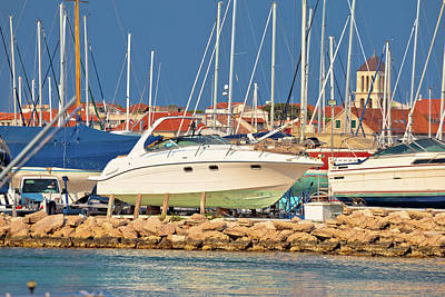 Photograph - Yacht On Dry Dock In Marina View by Brch Photography