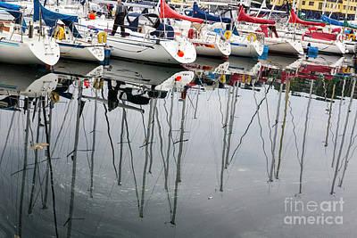Zen - Yacht reflections in Kristiansund, Norway by Sheila Smart Fine Art Photography