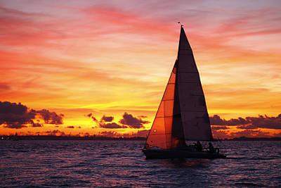Yacht Sailing At Sunset Original