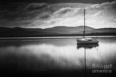 Water Vessels Photograph - Yacht Sailing Boat With Sails Down In Port Sorell  by Jorgo Photography - Wall Art Gallery